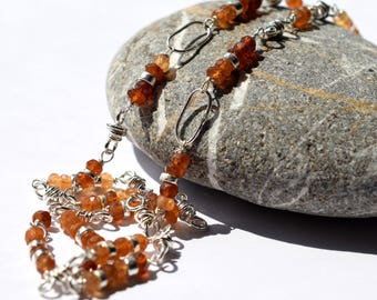 Hessonite Garnet Sterling Silver Necklace, Long Sterling Silver Link Necklace, Gemstone Artisan Chain, Orange Garnet Wire Wrapped Necklace