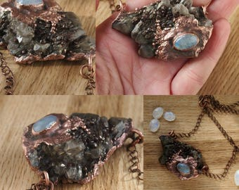 Rough grey amethyst cluster and moonstone  necklace
