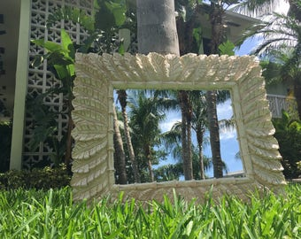 "GOING BANANAS! Fabulous Banana Leaf And Faux Bamboo Horizontal Mirror / Very Large 50"" Long And Dramatic / Coordinating Console Available"