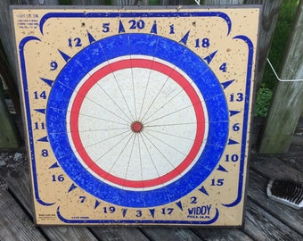 Vintage Dart Board Double Sided Classic 22 by 22 Inches Widdy