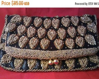 On Sale Beautiful Beaded Bag - Black Tie Formal Clutch Purse - Mid Century Handbag - 1950's 1960's High End Hard To Find Rare Purses