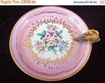 On Sale Collectible Dish High End Ornate Flower Motif Design Plate, Decor Main Porcelaines Champ Elysees Made in Paris France