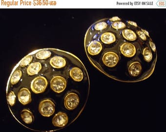 Now On Sale Vintage Rhinestone 1980's Earrings Old Hollywood Glam Black Tie Formal Glamour Girl Rockabilly Retro Jewelry