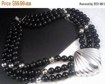 On Sale Vintage Napier Statement Necklace - Black & Silver Designer Signed 1970's Jewelry - Rare Hard To Find Collectible