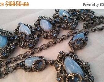 ON SALE Vintage Blue Rhinestone Necklace Bracelet Set - 1940's Art Deco Jewelry - Vintage Bridal Wedding Jewelry - Demi