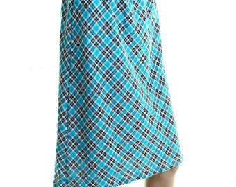 Vintage 70s Turquoise Blue Retro Checked Flared Knee Length Skirt UK 14 US 12