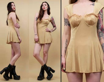 80s 90s Vtg Nude Slinky Mermaid Shell BUSTIER Micro Mini Dress / Grunge Babydoll Sleeveless Sweetheart Cut / Sm Med