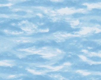 12% off thru July AFTER THE SNOW-white clouds blue sky  by the  yard Wilmington cotton fabric-72256-441