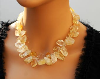 Handcrafted Genuine Gemstone Quartz Citrine Unique Statement Necklace Yellow chanky Romantic Feminine Elegant Healing Wedding Jewelry set