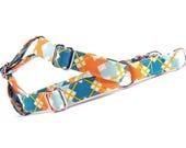 Teal Orange Plaid Dog Step in Harness