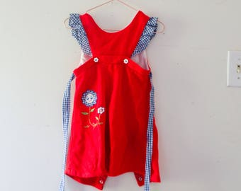 Vintage Baby Toddler Romper Jumper Clothing Girls Outfit Vintage Girls Red Overalls Flower Hippy Flower Power