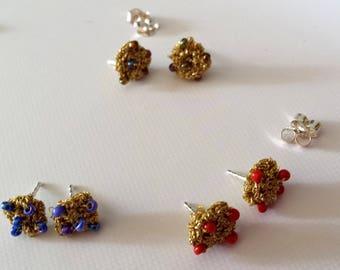 Silver ear-studs with gold yarn, sterling silver 925 minimal earrings, gold blue stud earrings, posts earrings gold red ear-studs, handmade