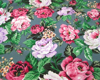 "Vintage Fabric - Pink and Lavender Cabbage Roses - 36""L x 44""W - 60's - material - textile - sewing supply - Retro"