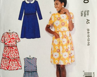 McCall's M7080, Size 6-8-10-12-14, Misses' Dresses Pattern, UNCUT, Pullover Dress, Ruffle,Pockets, Gathered Waist,Collar, Sleeve Variations