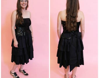 1980s Sequin Party Dress with Large Bow