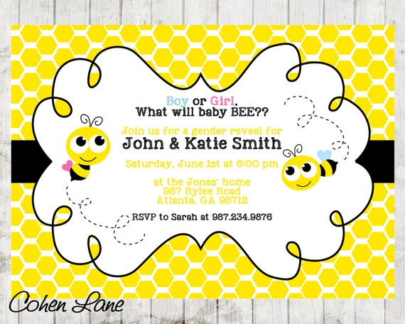 Bee gender reveal invitations gender reveal invite gender reveal il570xn filmwisefo