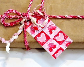 Pink Fabric Twisted Twine Ribbon and Fabric Heart Tags, Craft Cord, Cotton Rag Rope, Textile Fiber Yarn, Valentine Gift Wrap itsyourcountry