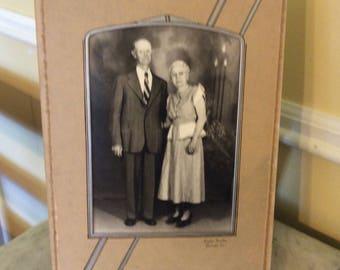 Vintage Art Deco Black and White Photo Senior Couple in Folding Frame