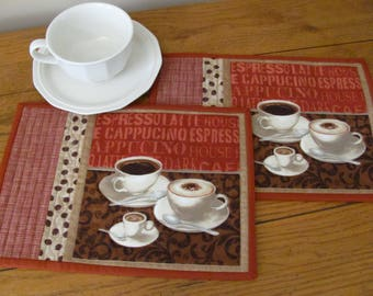 Quilted Mug Rugs/Placemats Coffee/Word Theme Fabric Matching Coffee Bean & Brick Red Accent Fabric Coffee Cups/Words - Coffee Bar Mug Mats