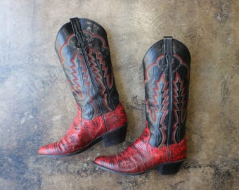 8 1/2  Women's / Snakeskin Cowboy BOOTS / Red and Black Western Boots / Vintage Leather Shoes