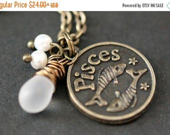 BACK to SCHOOL SALE Pisces Astrology Necklace. Zodiac Necklace with Glass Teardrop and Fresh Water Pearl. Pisces Horoscope Handmade Jewelry.
