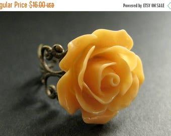 BACK to SCHOOL SALE Tangerine Orange Rose Ring. Orange Flower Ring. Filigree Adjustable Ring. Flower Jewelry. Handmade Jewelry.