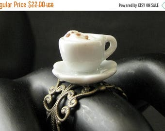 BACK to SCHOOL SALE Latte Ring. Cappuccino Ring. White Teacup Ring with Steamed Cream Topping. Bronze Adjustable Ring. Handmade Jewelry.