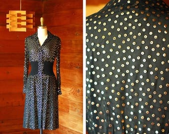 20% off weekend sale / vintage 1970s Pat Sandler black and gold sheer sequin dress / size xs small