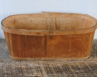 Vintage Oblong Wood Slat Vegetable Farm Marked Basket