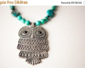 Silver Owl Necklace, Owl Jewelry, Turquoise Necklace, Statement Necklace, Bold Necklace Set, Boho Jewelry, Bohemian Jewelry, Stone, Trending