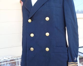 Vintage navy officer tailored Jacket WWII Military Browning King 1940's Uniform Militaria