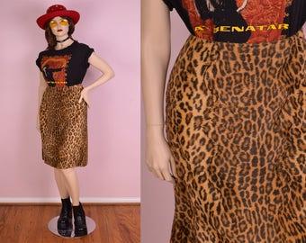 90s Faux Fur Leopard Print Skirt/ US 10/ 1990s