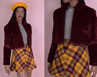 90s Burgundy Faux Fur Cropped Jacket/ Small/ 1990s