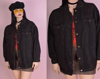 80s 90s Black Denim Jacket/ Large/ 1980s/ 1990s/ Jean Jacket