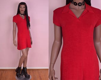90s Red Polo Dress/ Medium/ 1990s/ Short Sleeve