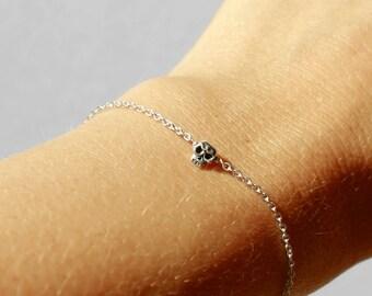 5mm skull bracelet - tiny sterling silver skull bracelet, handmade skull bracelet