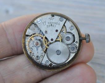 Vintage Soviet Russian wrist watch movement.