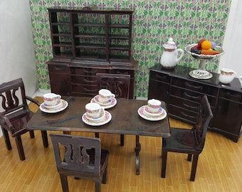 Plasco Dining room Lyre chairs Sideboard and China hutch Furniture Dollhouse Traditional Style 1944