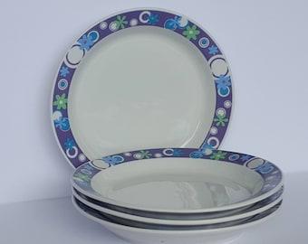 Vintage Joe Boxer Mod Purple Blue Flowers Plates Dishes set of 4