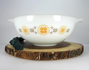 Vintage Pyrex Town and Country Orange Cinderella Mixing Bowl 4 Quart Nesting White Black #444 Mid Century 1960's