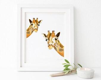 Giraffe Art Print - Giraffe Print - Giraffe Wall Art - Baby Shower Gift - Giraffe theme Nursery Art - Baby Room - Giraffe Baby