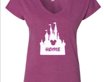 Disney Shirts/ Glitter Castle Home Shirt/ Disneyland Shirt/ DIsney World Shirt/ Disney Castle/ Plus Size Disney Shirts/ Disney Girls Trip