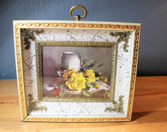 Vintage Ornate Metal Framed Picture With Yellow Roses