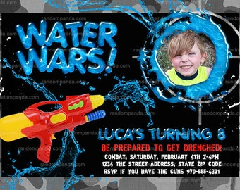 Personalize Water Wars invitation, Splash Party, Water Squirt Gun Invite