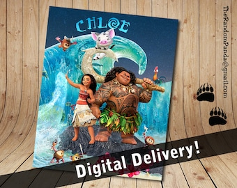 Personalize Kids Poster, Moana Movie Poster, Moana and Maui Party Wall Art