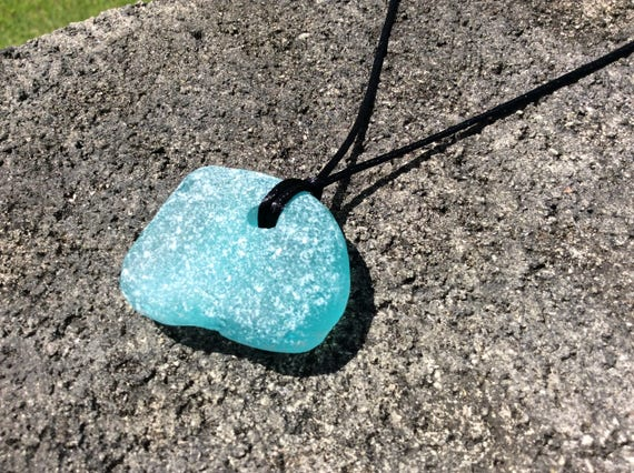 RARE Surf Tumbled XLG Turquoise Seaglass Satin Necklace