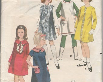 1960's Sewing Pattern Butterick 3694 girls easy dress or jumper size 10