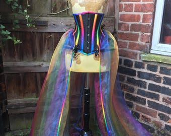 Rainbow panniered underbust corset
