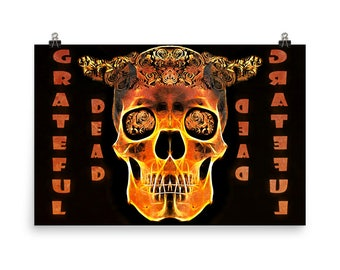 Grateful Dead in Gold, Dead Heads, Keep Trucking, Rock Icons, Museum Quality Poster Print