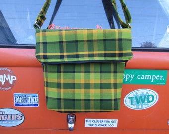 Large, Green Westfalia Plaid Messenger Bag
